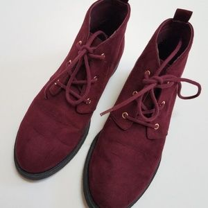 Faux Suede Lace-up Booties